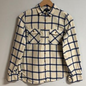 J. Crew Cream & Blue Button Up Flannel